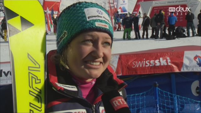Géant dames, Lenzerheide (SUI), 2e manche: Simone Wild (SUI) au micro de la RTS [RTS]