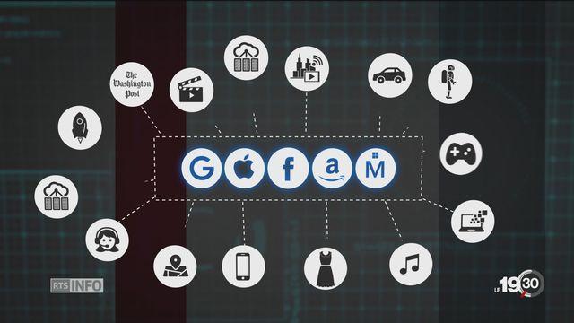 Google, Apple, Facebook, Amazon et Microsoft sont actifs dans de nombreux domaines.  [RTS]