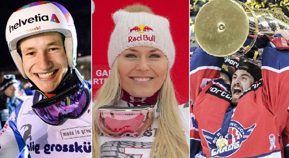 Le top-3 du dimanche 4 février: Marco Odermatt, Lindsey Vonn, Melvin Nyffeler. [M.Lopez/S.Jansen/A.Mueller - Keystone]