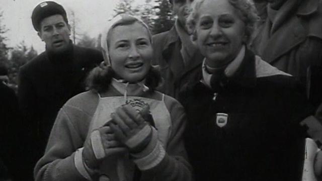 Renée Colliard, médaillée olympique de slalom aux Jeux olympiques de Cortina en 1956. [RTS]