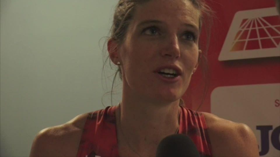 Athlétisme: Lea Sprunger à l'interview après sa victoire à Madrid - athle.ch [RTS]