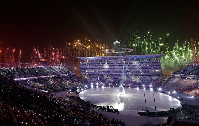 La cérémonie d'ouverture des JO de PyeongChang. [AP Photo/David J. Phillip,Pool - Keystone]