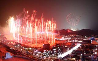 Le feu d'artifice de la cérémonie d'ouverture des Jo de PyeongChang. [Jeon Heon-kyun - EPA/Keystone]