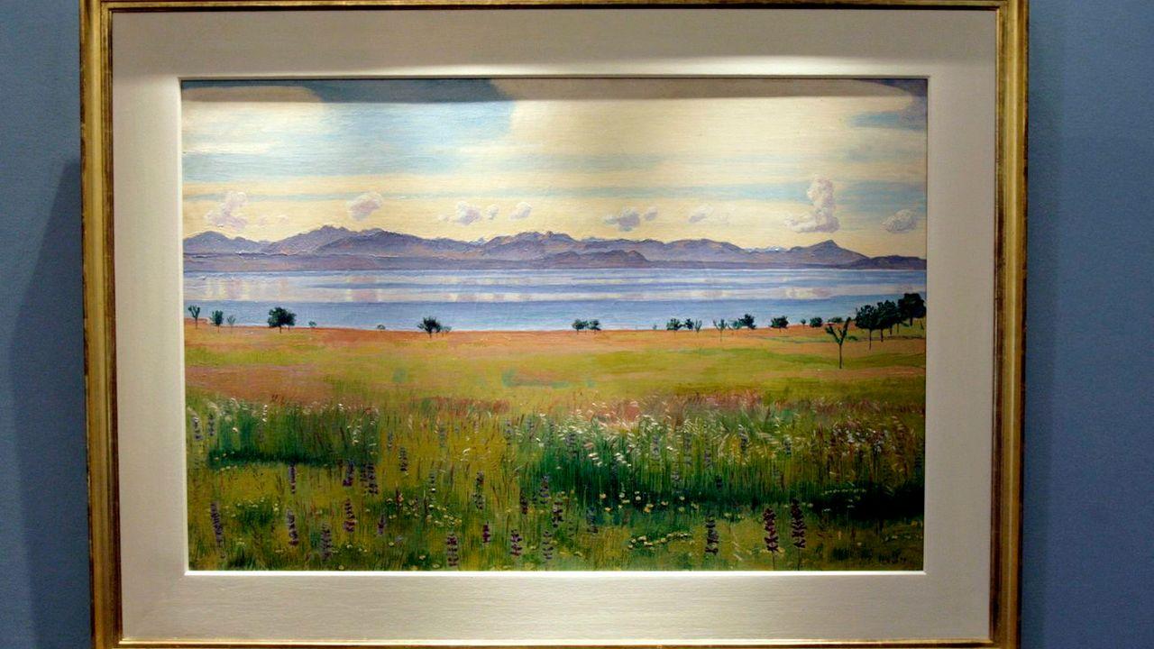 """""""Le lac Léman vu de St-Prex"""", peint par Ferdinand Hodler en 1901. [Martial Trezzini - keystone]"""