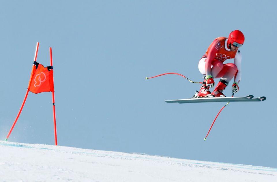 Mauro Caviezel lors du deuxième entraînement de la descente à PyeongChang. [GUILLAUME HORCAJUELO - Keystone]