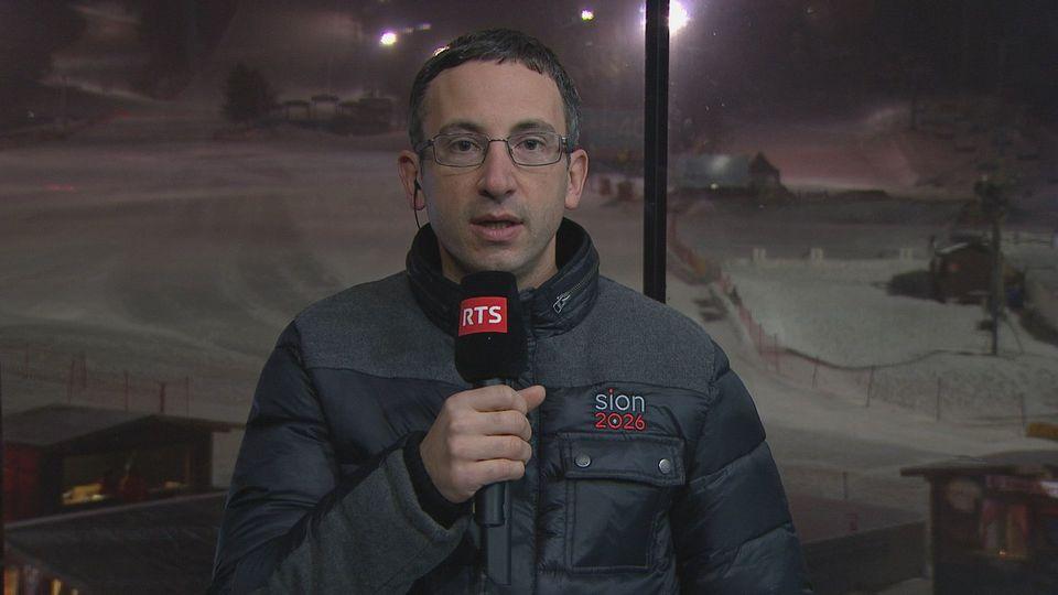 Frédéric Favre, conseiller d'Etat valaisan et vice-président de Sion 2026, répond aux questions de la RTS. [RTS]