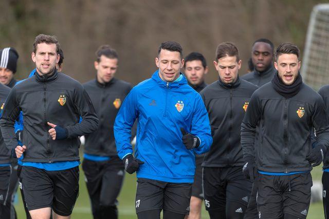 Les joueurs du FC Bâle à l'entraînement. [Georgios Kefalas - Keystone]