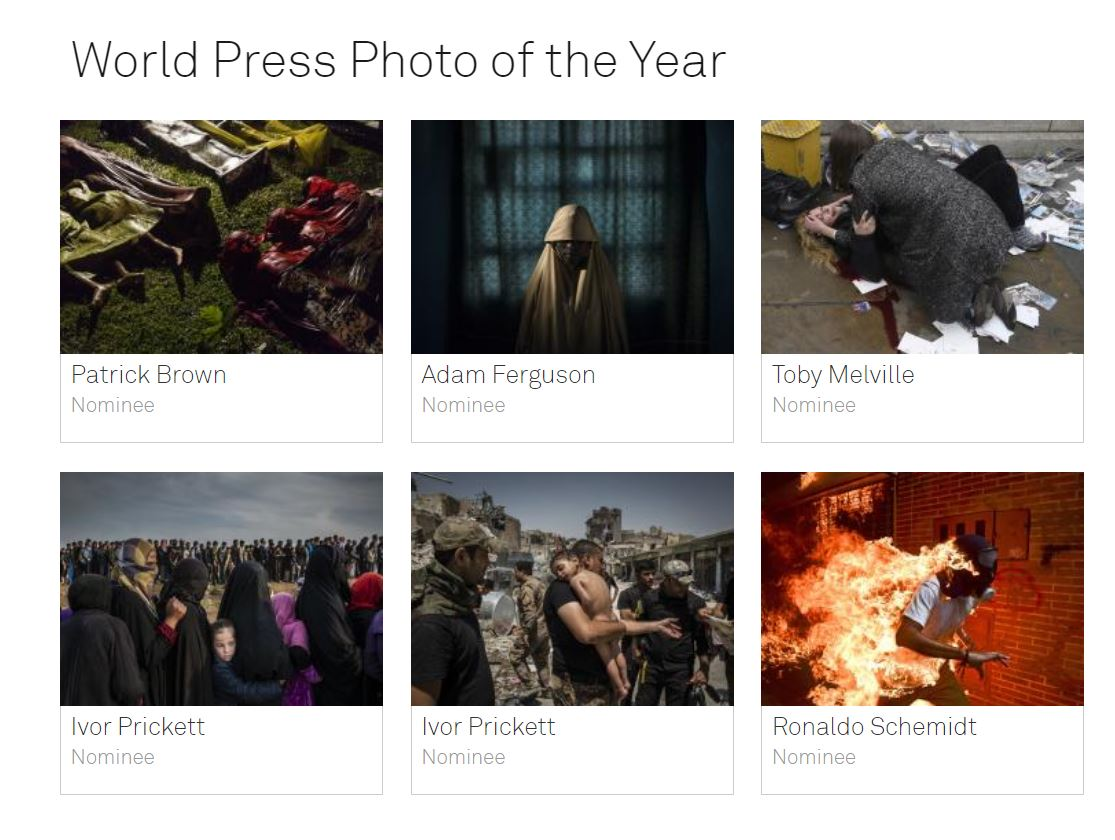 Les nominés du World Press Photo 2018.