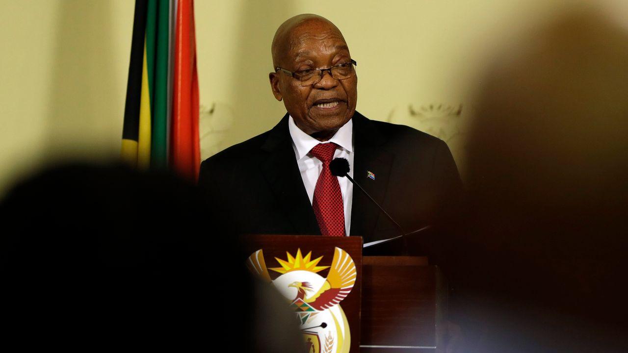 Jacob Zuma, face aux journalistes, lors de son discours à la nation. [Themba Hadebe - Keystone]