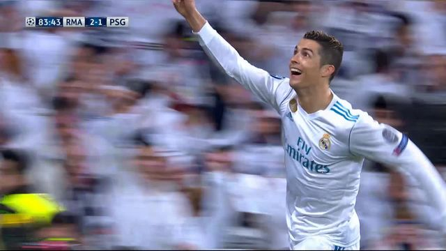 1-8e de finale, Real Madrid – Paris Saint-Germain (2-1): 83e Cristiano Ronaldo [RTS]