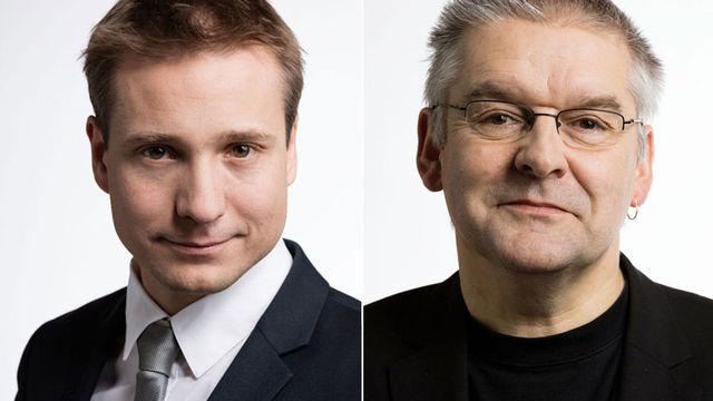 Philippe Nantermod et Denis de la Reussille. [Gaëtan Bally - Keystone]