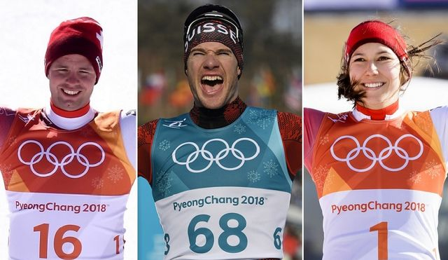Les 3 médaillés suisses du 16 février: Beat Feuz, Dario Cologna et Wendy Holdener. [C.Bruna/G.Ehrenzeller/J-C.Bott - Keystone]