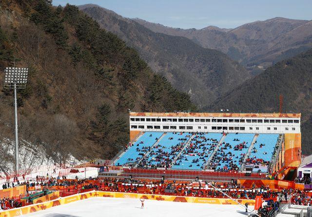 Le vent, de retour sur le site de Jeongseon, a forcé les organisateurs à repousser le départ du super-G dames. [Patrick Semansky - Keystone]