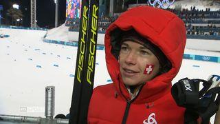 Relais 4x5km, finale dames: interview de Nathalie von Siebenthal (SUI) [RTS]