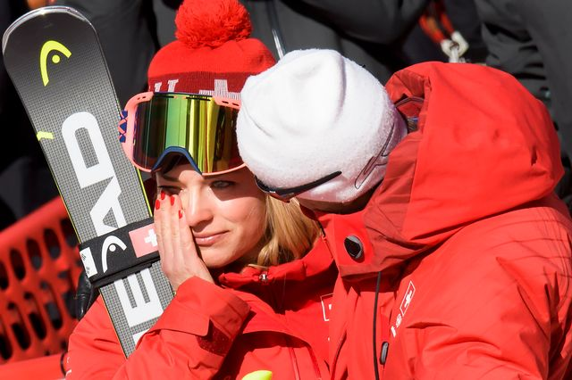 Lara Gut gardera un goût très amer de ce super-G olympique. [Jean-Christophe Bott - Keystone]
