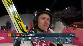 Finale messieurs, 1er saut: Simon Ammann (SUI) [RTS]