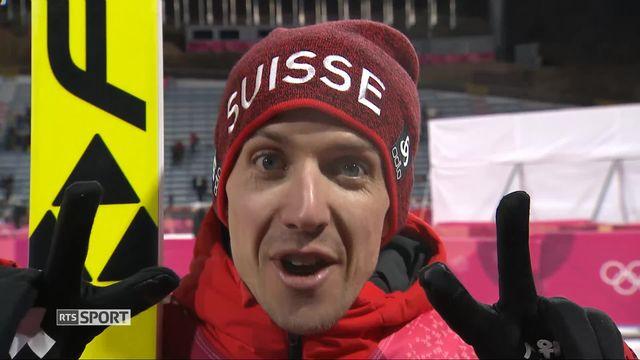 Finale hommes, 2e saut: interview de Simon Ammann (SUI) [RTS]