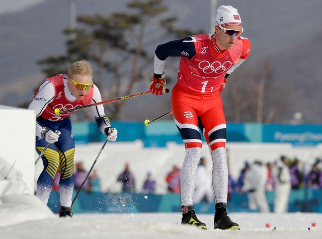 Didrik Toenseth et ses coéquipiers ont permis à la Norvège de remporter l'or en relais 4x10 km. [Kirsty Wigglesworth - Keystone]