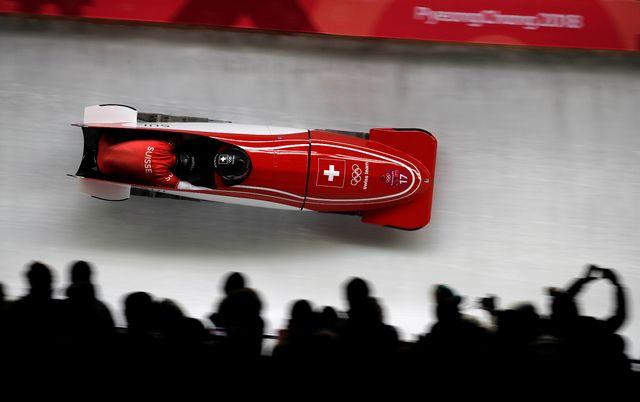 Le bob suisse de Clemens Bracher et Michael Kuonen dans la descente de PyeongChang. [Arnd Wiegmann - Reuters]