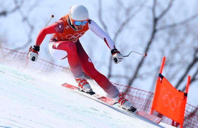 La Suissesse Michelle Gisin lors du troisième entraînement de la descente olympique. [Alessandro Trovati) - AP Photo/Keystone]