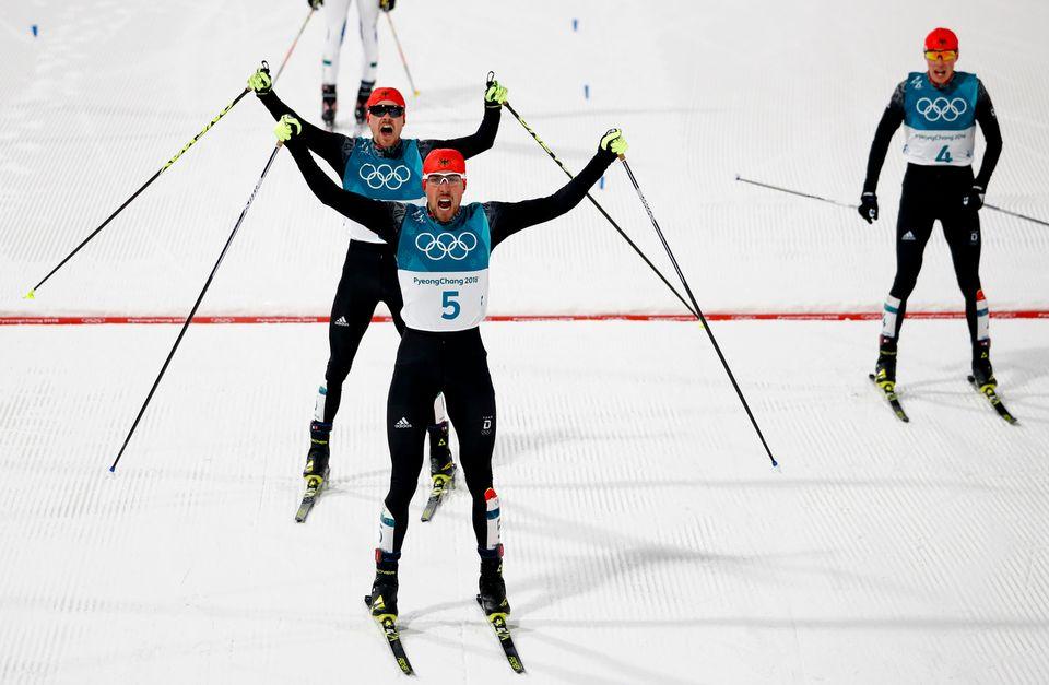 Les Allemands ont raflé les trois médailles. [Matthias Schrader - Keystone]