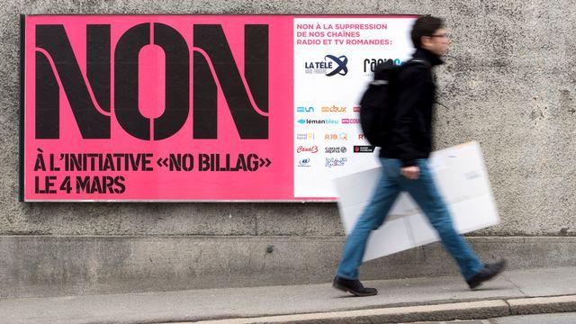 Au fur et à mesure de la campagne, le oui à l'initiative No Billag perd du terrain. [Anthony Anex - Keystone]