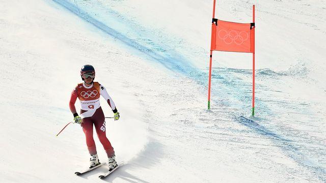 La Tessinoise Lara Gut a été éliminée de l'épreuve après avoir manqué une porte. [Christian Bruna - EPA/Keystone]