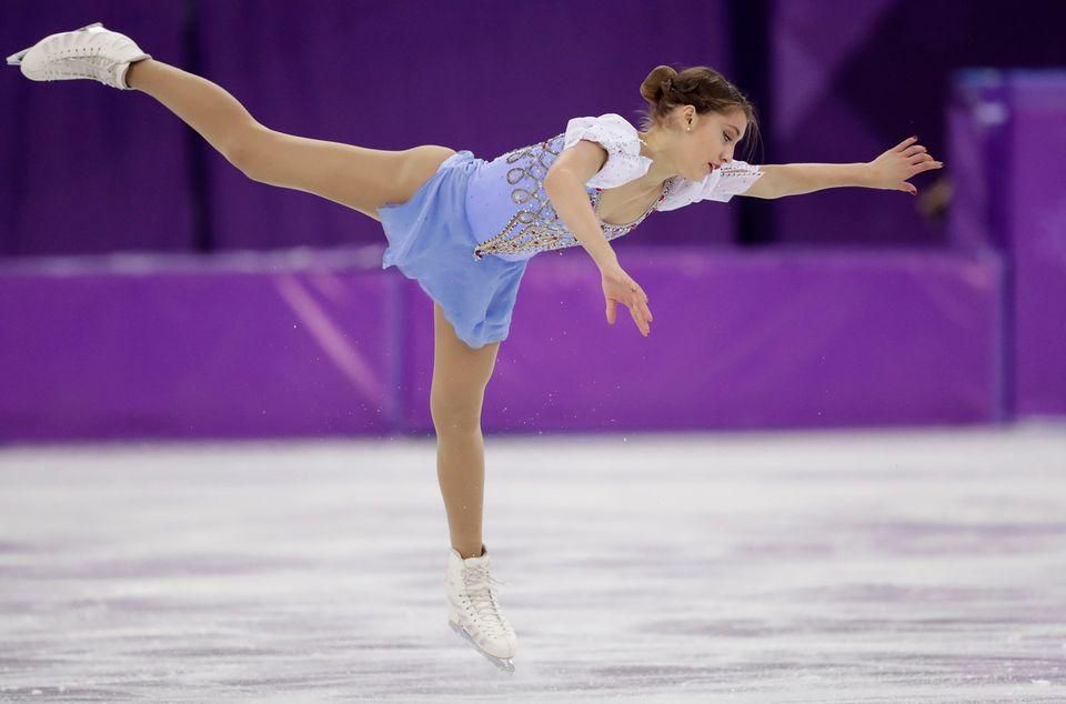 Alexia Paganini durant son programme court en patinage individuel. [Bernat Armangue - AP Photo/Keystone]