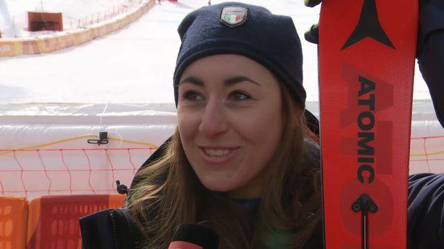 Descente femmes: la réaction de Sofia Goggia (ITA) après sa médaille d'or [RTS]