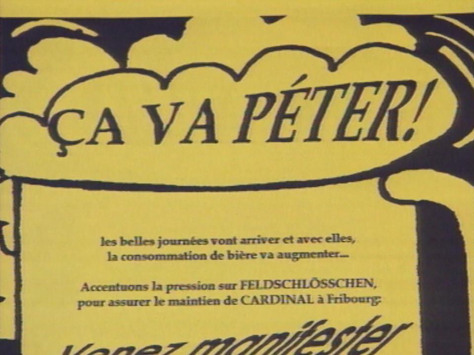 En 1997, le boycott de la bière Feldschlosschen s'organise. [RTS]