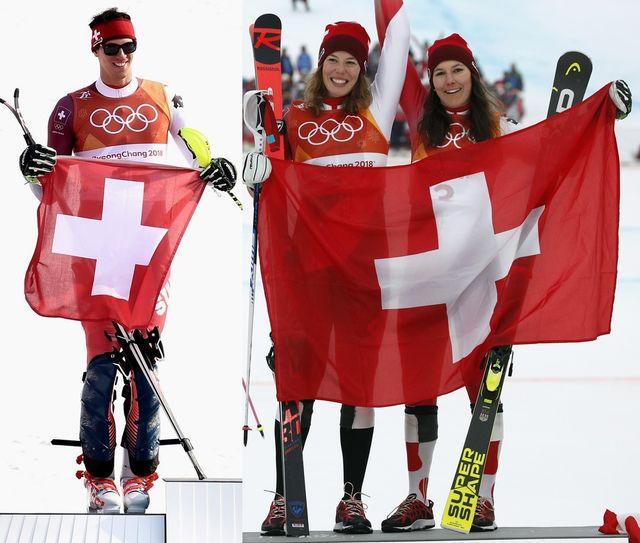 Zenhäusern, Gisin et Holdener ont porté haut les couleurs helvétiques. [C.Ena/C.Bruna - Keystone]