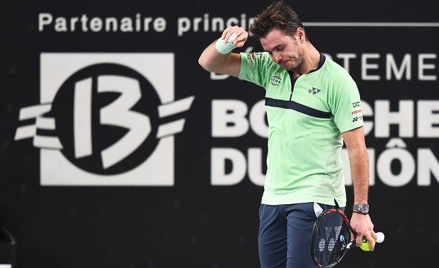 Stan Wawrinka lors de son match face au Biélorusse Ilya Ivashka à Marseille. [Anne-Christine Poujoulat - AFP]