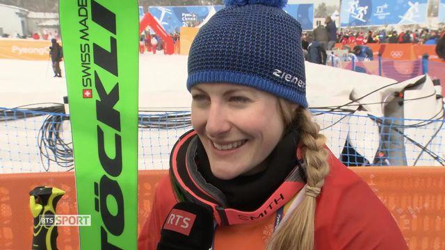 Fanny Smith, émue après sa médaille de bronze. [RTS]