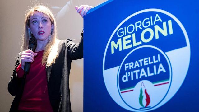Giorgia Meloni, présidente de Fratelli d'Italia, lors d'un meeting à Rome le 18 février 2018. [ANGELO CARCONI - EPA/KEYSTONE]