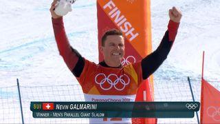 Slalom géant parallèle hommes, finale: Nevin Galmarini monte sur le podium [RTS]