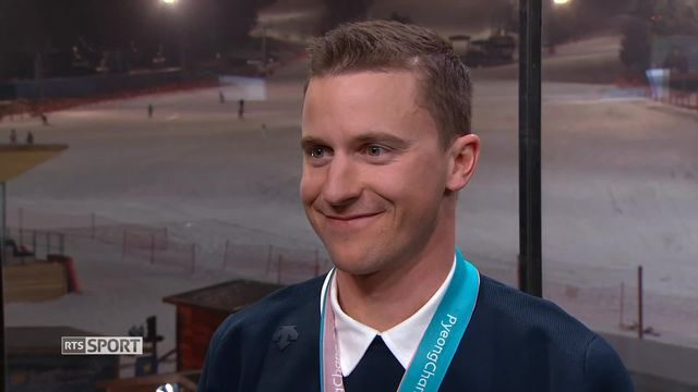 JO - Snowboard géant parallèle: entretien avec Nevin Galmarini, médaillé d'or [RTS]