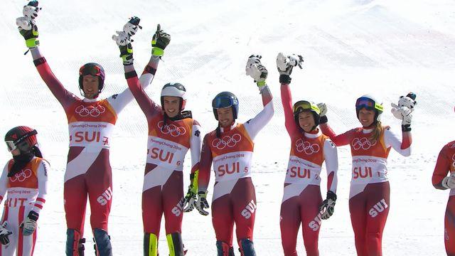 JO - Ski alpin: l'équipe suisse de Team Event remporte l'or [RTS]
