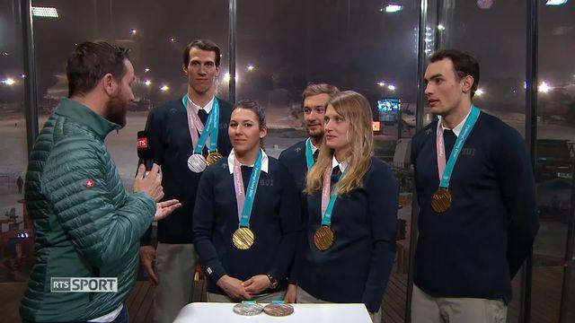 JO - Team Event: entretien avec les athlètes au complet [RTS]