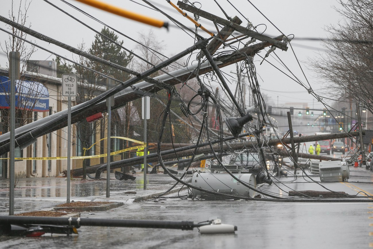 "Le résultat du passage de la tempête ""Riley"" à Watertown, Massachusetts, le 2 mars 2018."