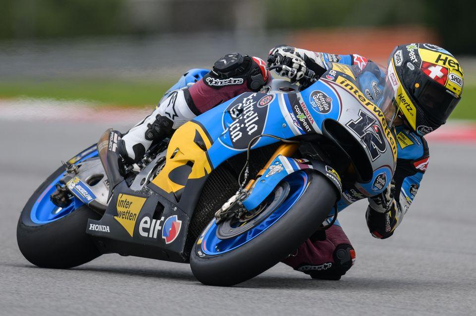Thomas Lüthi lors du premier jour de la pré-saison de MotoGP à Sepang (Malaisie), le 28 janvier 2018. [MOHD RASFAN - AFP]