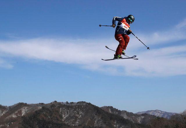 Sarah Höfflin lors d'un run lors des Jeux olympiques de PyeongChang. [Sergei Ilnitsky - EPA/Keystone]