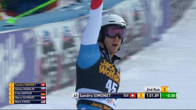 Kranjska Gora (SLO), slalom hommes, 2e manche: Sandro Simonet (SUI) [RTS]