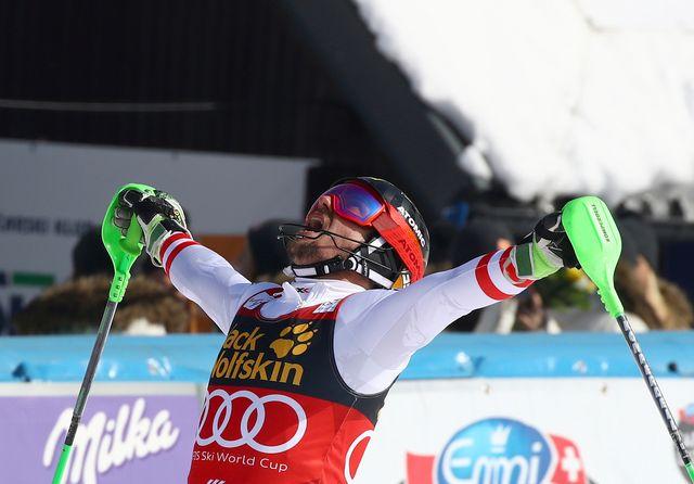 Marcel Hirscher est euphorique à l'arrivée du slalom de Kranjska Gora. [Alessandro Trovati - Keystone]