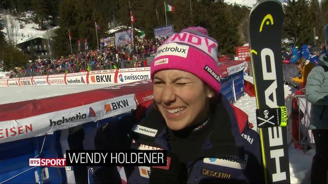Crans-Montana (SUI), combiné alpin dames, 2e manche: la réaction de Wendy Holdener (SUI) après son Globe de cristal [RTS]