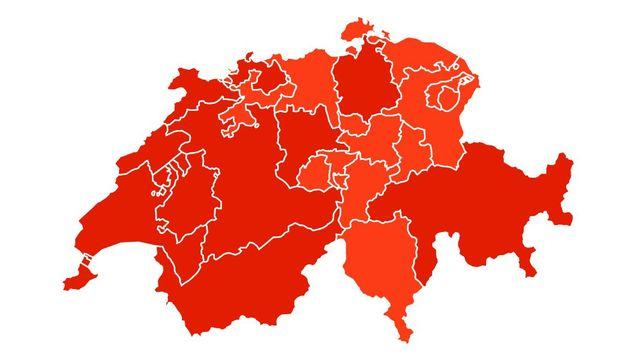 Carte des résultats définitifs de l'initiative No Billag par canton. [RTS]