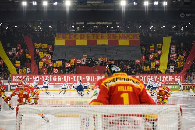 Malgré son beau parcours, le HC Bienne a perdu des spectateurs en moyenne [Anthony Anex - Keystone]
