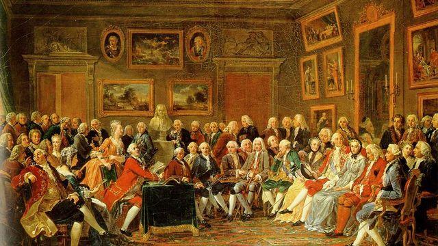 Lecture de la tragédie de l'orphelin de la Chine de Voltaire dans le salon de madame Geoffrin (Malmaison, 1812) [Gabriel Lemonnier]