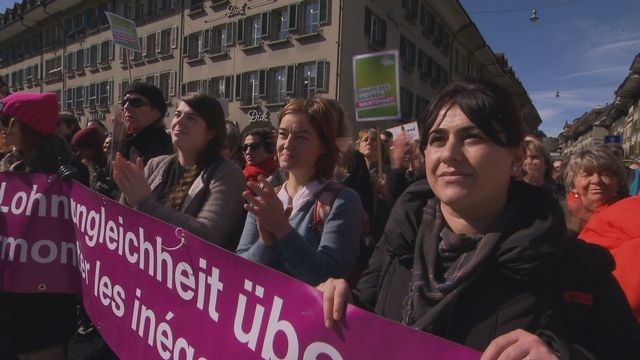 Manifestation à l'occasion de la Journée internationale du droit des femmes, jeudi 8 mars 2018 à Berne.