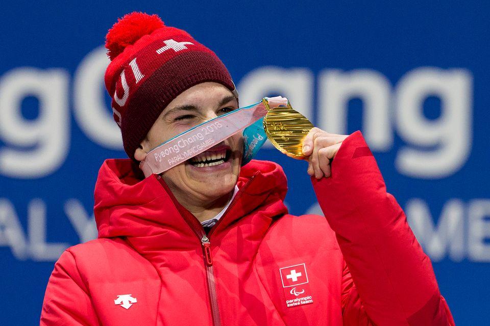 Magnifique doublé pour Théo Gmür qui a remporté l'or de la descente et du Super-G à PyeongChang [Alexandra Wey - Keystone]
