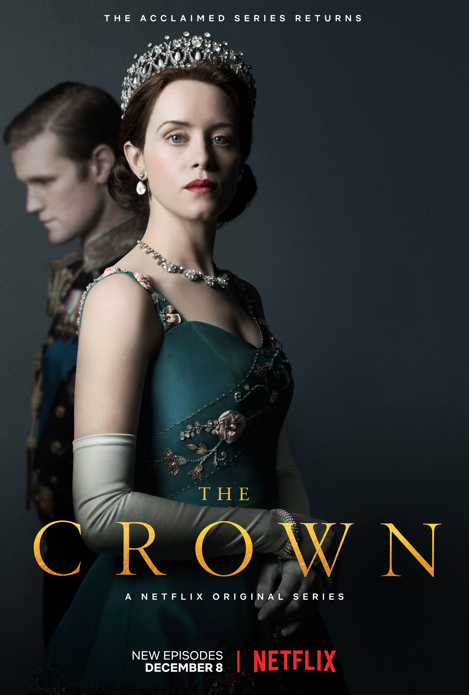 "Affiche ""The Crown"" sur Netflix."